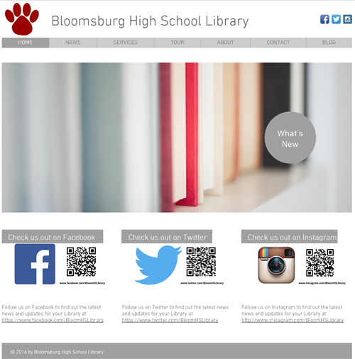 Bloomsburg High School Library website