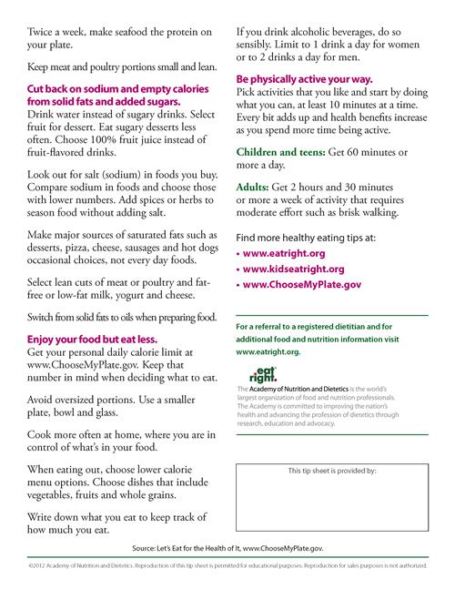 School Lunch Information / MyPlate Handout